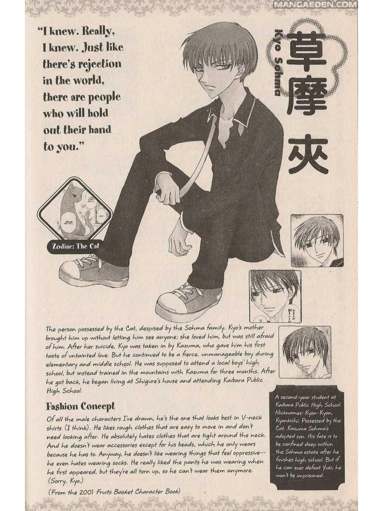 Author's Profile Sheet for the character Kyo Sohma, from