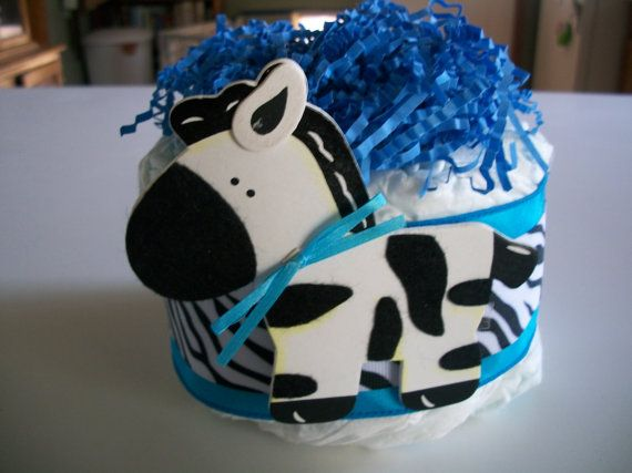 ADORABLE Mini DIAPER CAKE - Baby  Boy - Blue Ribbon Zebra Theme Perfect for a Baby Shower. $7.95, via Etsy.