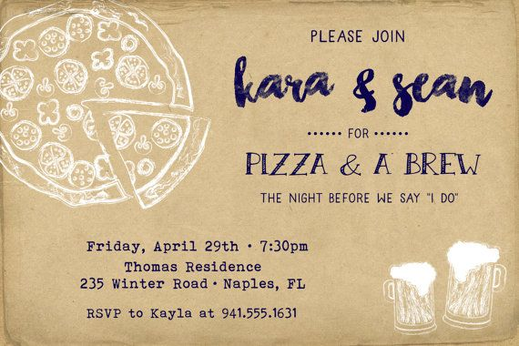 Pizza Party Rehearsal Dinner Invitation Postcard - PRINTED
