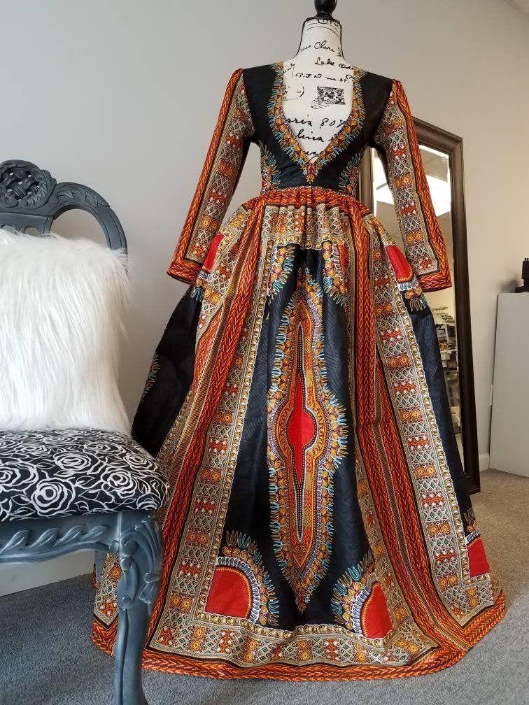 Elegant Ankara Full Length Dashiki Dress, African Print Maxi Dress Please Read Full Description Gallery