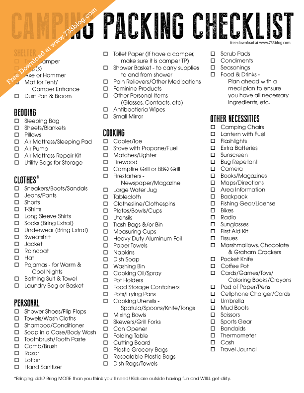Camping Packing Checklist - Free Printable | Free ...