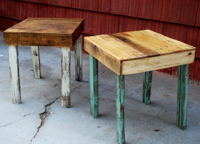 Beautiful And Simple Pallet Side Tables Diy End Table Made From