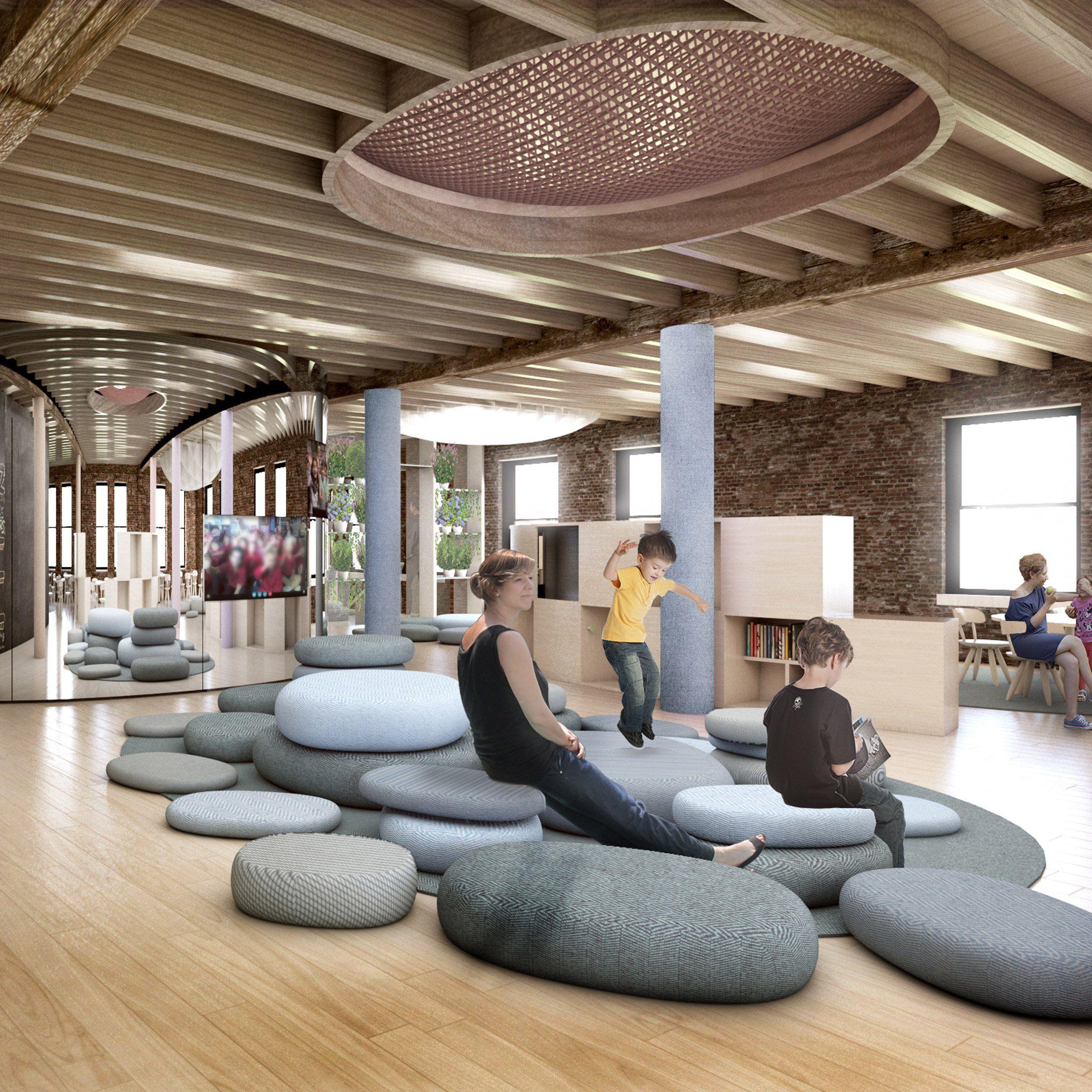 Architecture Interior Design: BIG Designs Kindergarten In New York City For WeWork