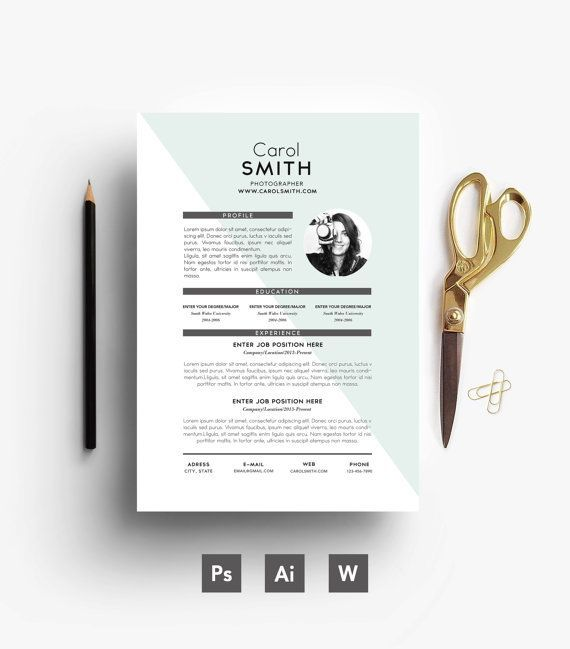 Carte De Visite Resume Cover Letter 3 Page Custom Easy Editable