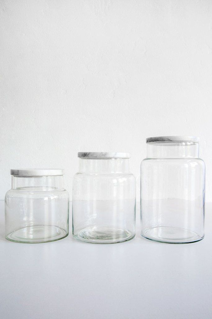 Glass Jar With Marble Lid Sold Individually Large 7 5 Tall X 4 75