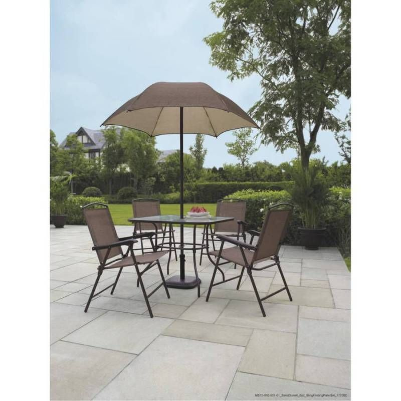 Patio Set Furniture Dune 6 Piece Folding Dining With Umbrella Seats 4 Ebay