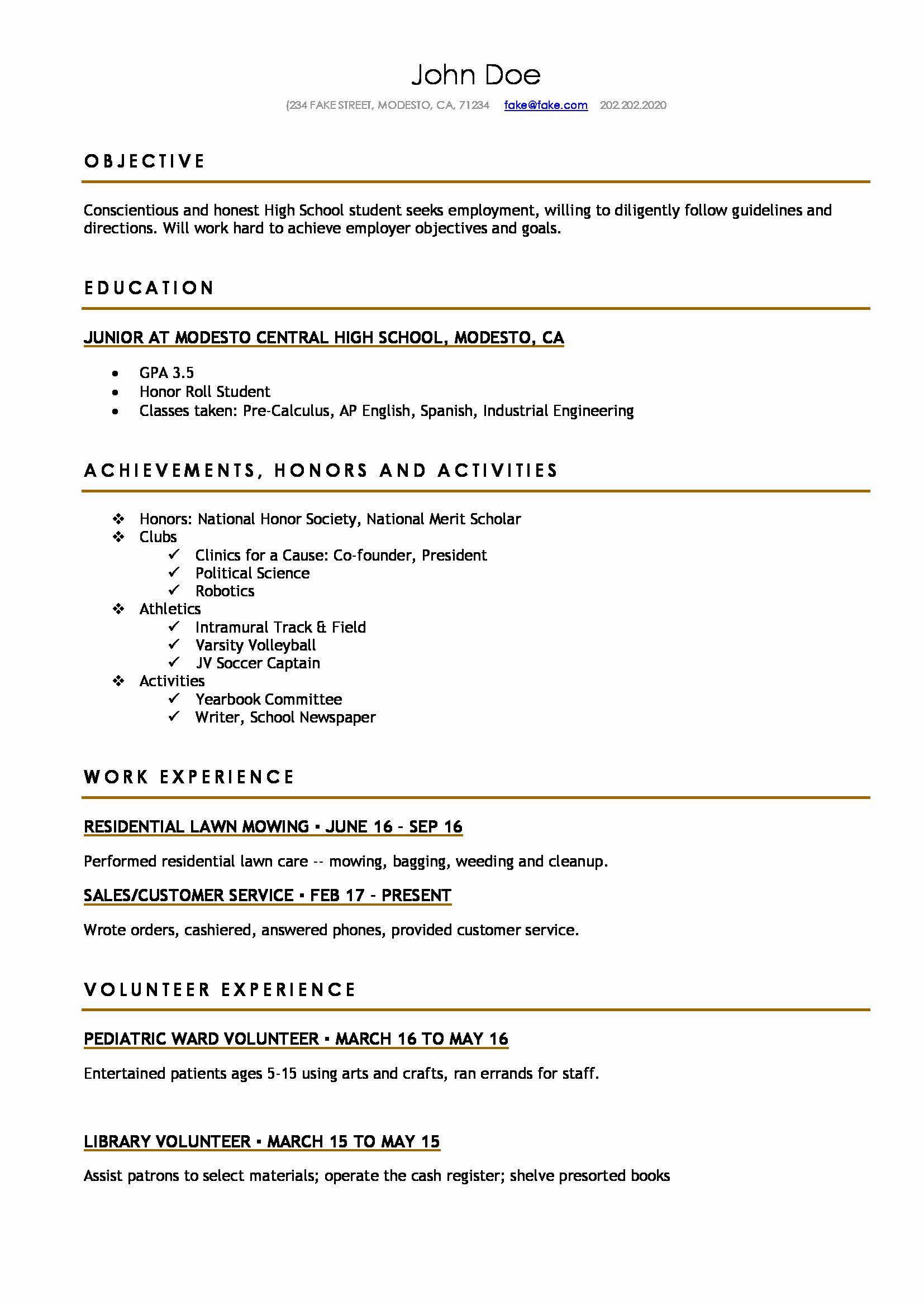 High School Student Resume Objective Elegant High School Resume Resumes Perfect For High Student Resume Template High School Resume High School Resume Template