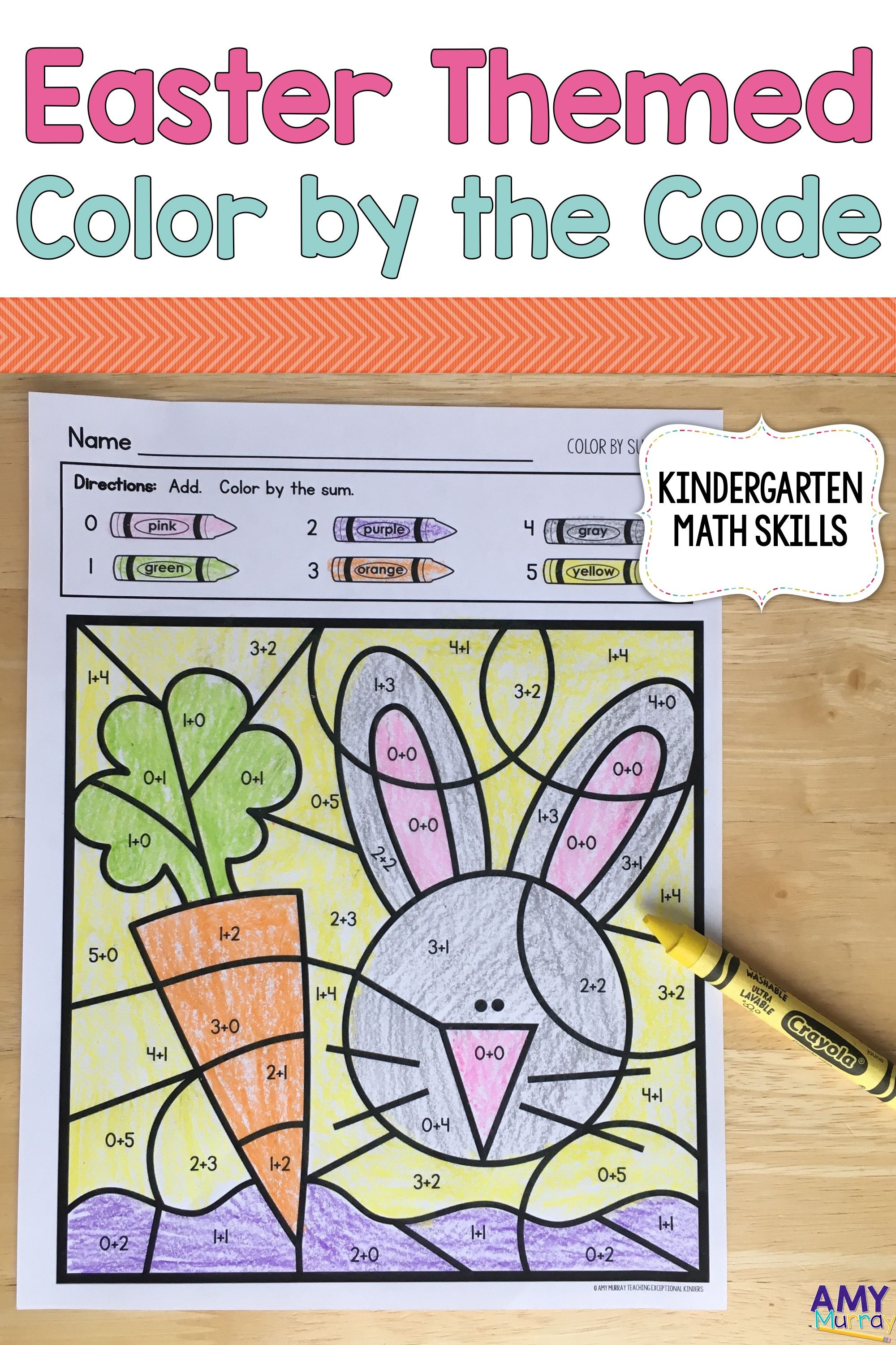 Easter Themed Color By Number Kindergarten Math Worksheets