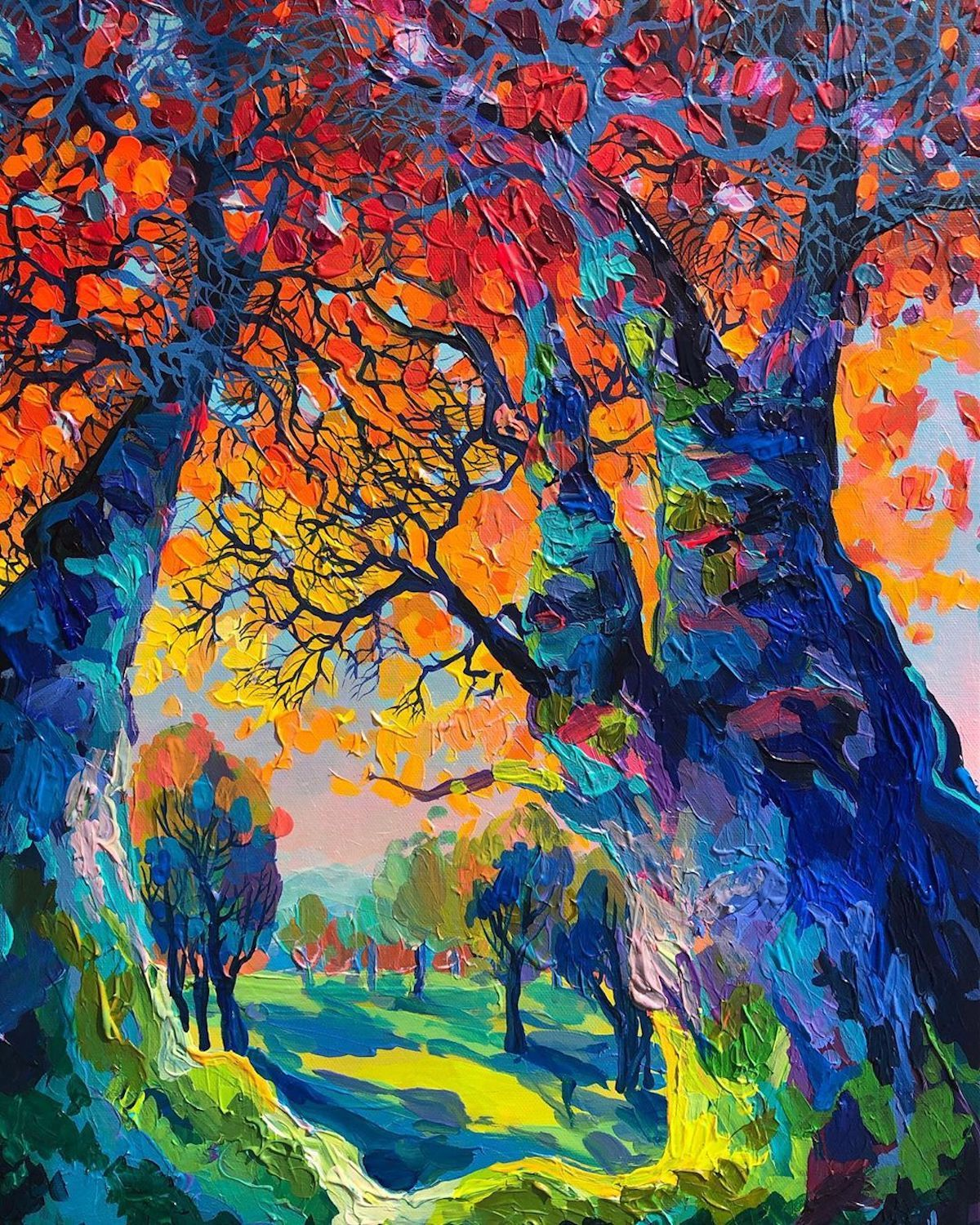 Brilliant Textured Paintings Capture European Countrysides In Kaleidoscopic Colors In 2020 Abstract Portrait Painting Ladscape Painting Colorful Oil Painting