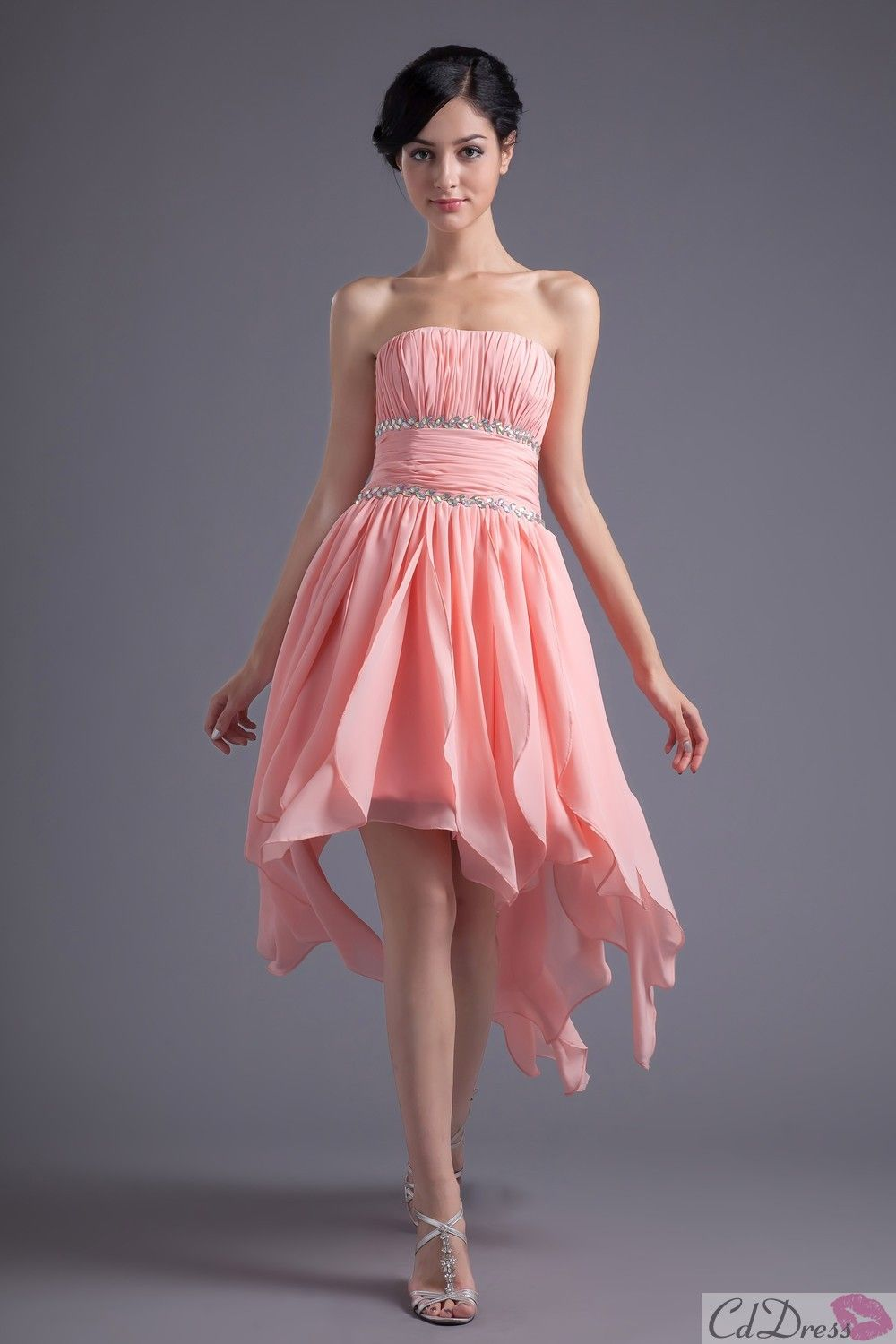 61241cbcde1 Beaded Chiffon Strapless Short Prom Dress cd dresses  101