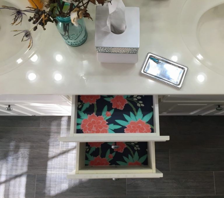 Beautiful bathroom drawer liners with peony wallpaper