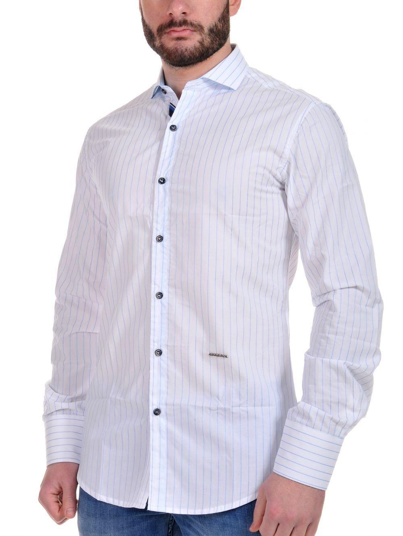 STEFAN Ανδρικό Italian Design slim fit λευκό πουά πουκάμισο ... e9e04f6190e