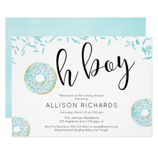Oh boy Donut sprinkles baby shower blue Invitation     - Print Design Inspiration Marketing -