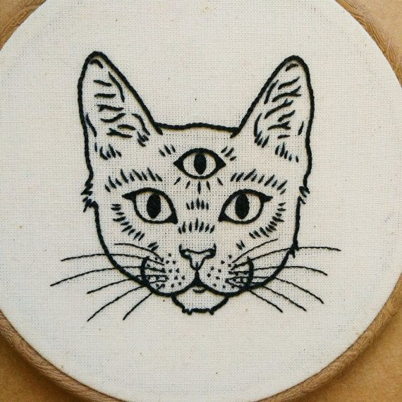 Eyed Cat Hand Embroidery Hoop Art embroidery wallThree Eyed Cat Hand Embroidery Hoop Art embroidery wall