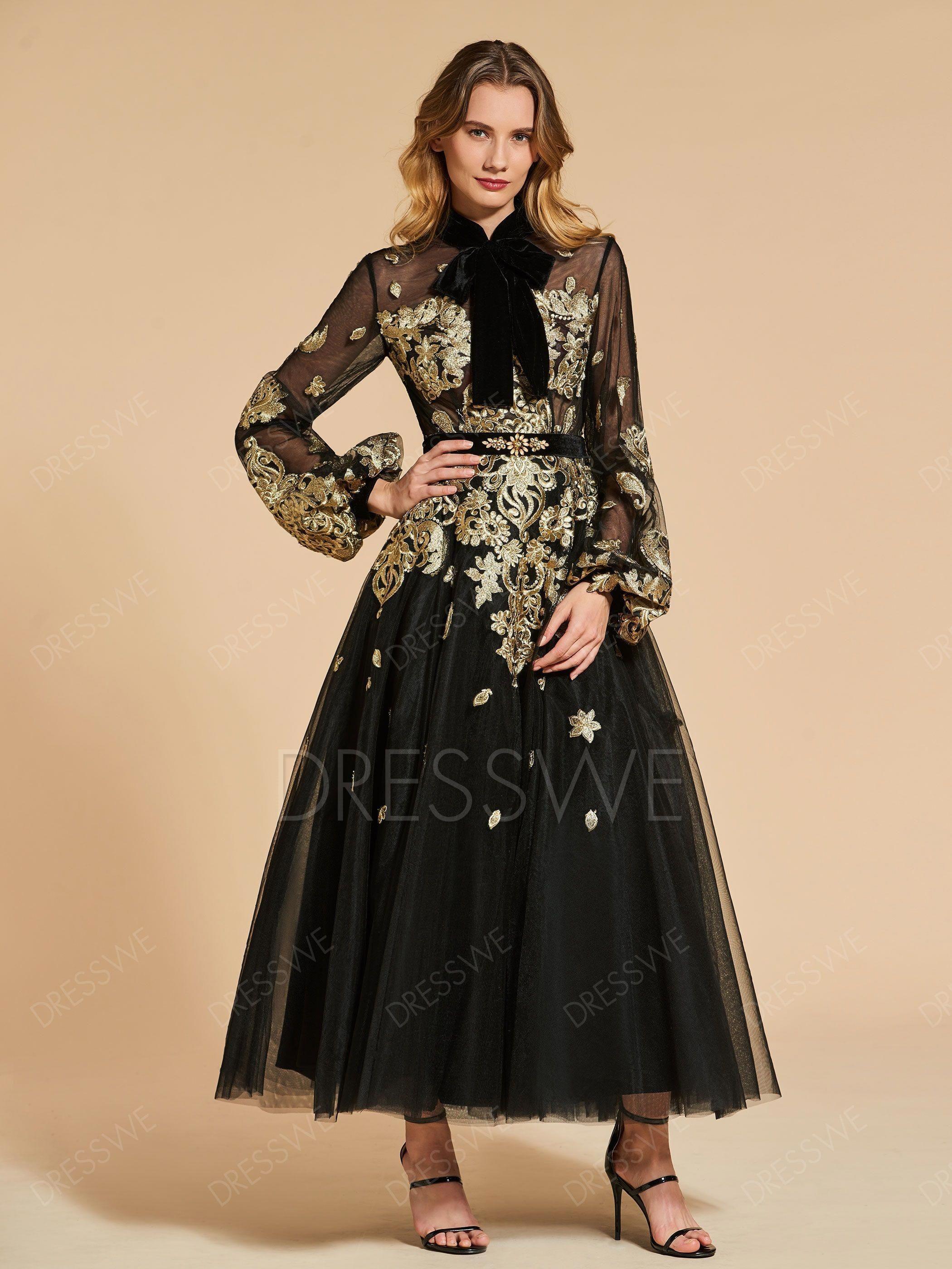 Buy Vintage High Neck Applique Tea Length Evening Dress Online Dresswe Com Offer Hig Ankle Length Evening Dress Evening Dresses Vintage Black Evening Dresses
