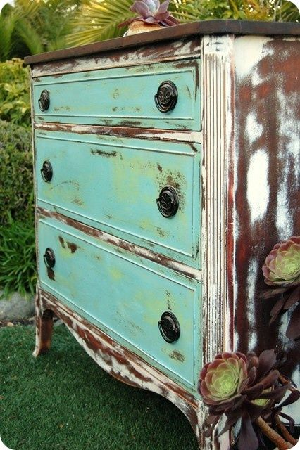 Painted Chest: Half stripped with painted drawers.   Toves Sammensurium