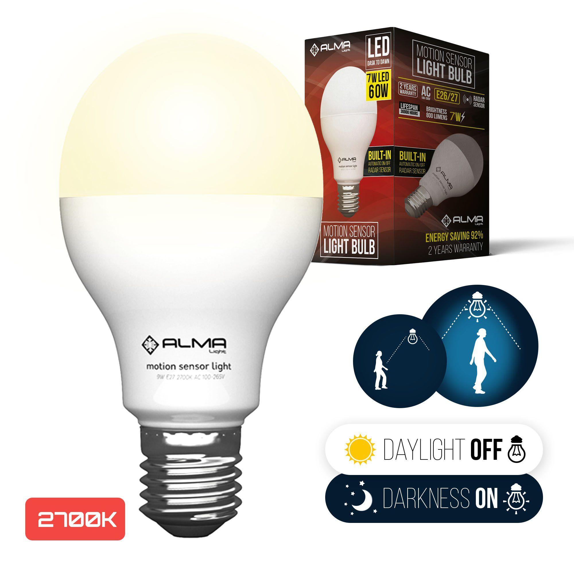 Motion sensor light bulb w motion activated led light bulbs with