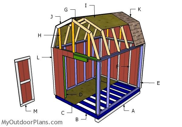 8x10 Gambrel Shed Plans Myoutdoorplans Free Woodworking Plans And Projects Diy Shed Wooden Playhouse Per In 2020 Shed Plans 8x10 Diy Shed Plans Shed House Plans