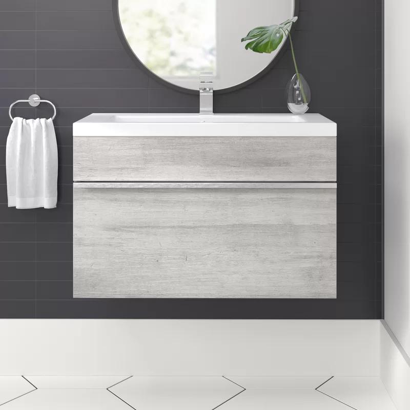 Trough 24 Wall Mounted Single Bathroom Vanity Set Reviews Allmodern 599 Single Bathroom Vanity Bathroom Vanity Contemporary Bathroom Vanity