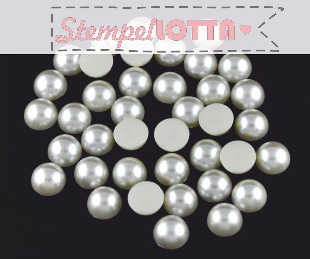 Halbperlen Weiß 50 Stk. Perlen NEU Weihnachten Glitzersteine Hochzeit  Einladung