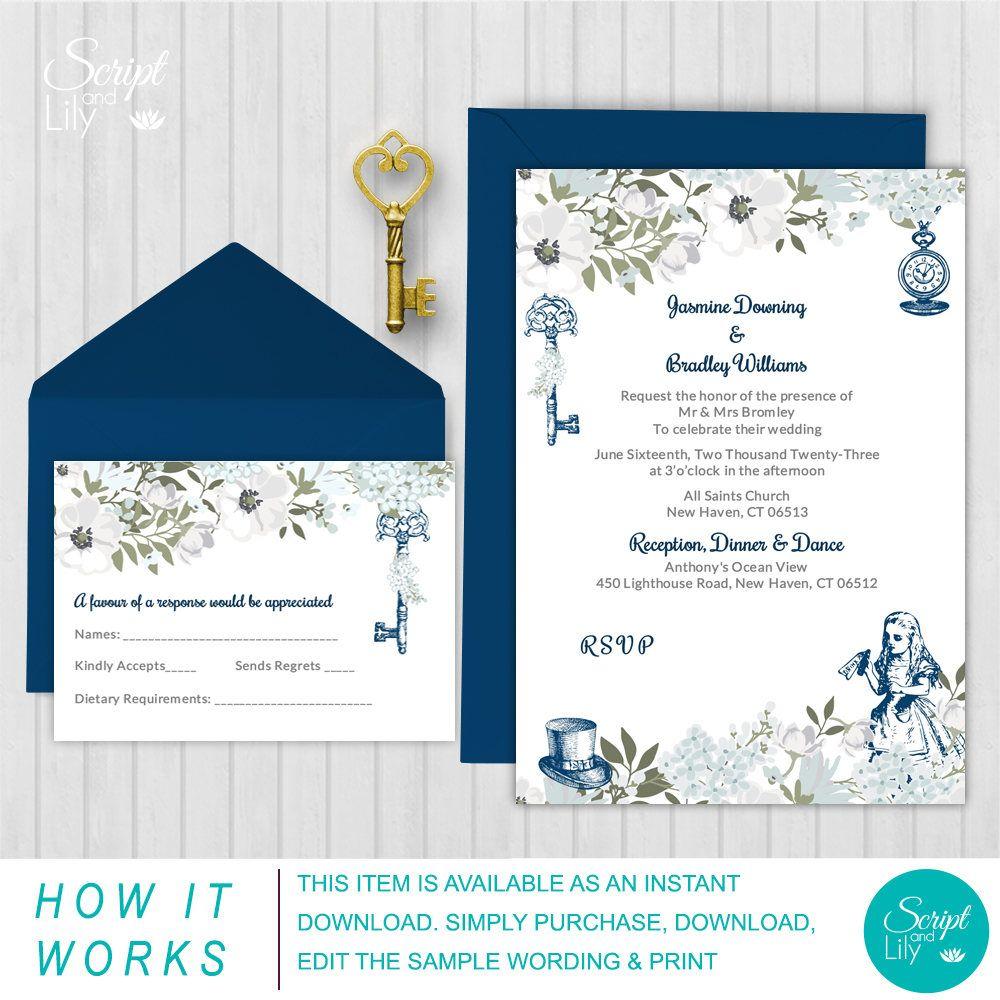 Elegant Alice In Wonderland Invitation Template Free Rsvp Card