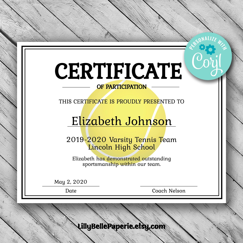 Editable Tennis Certificate Template Printable Certificate