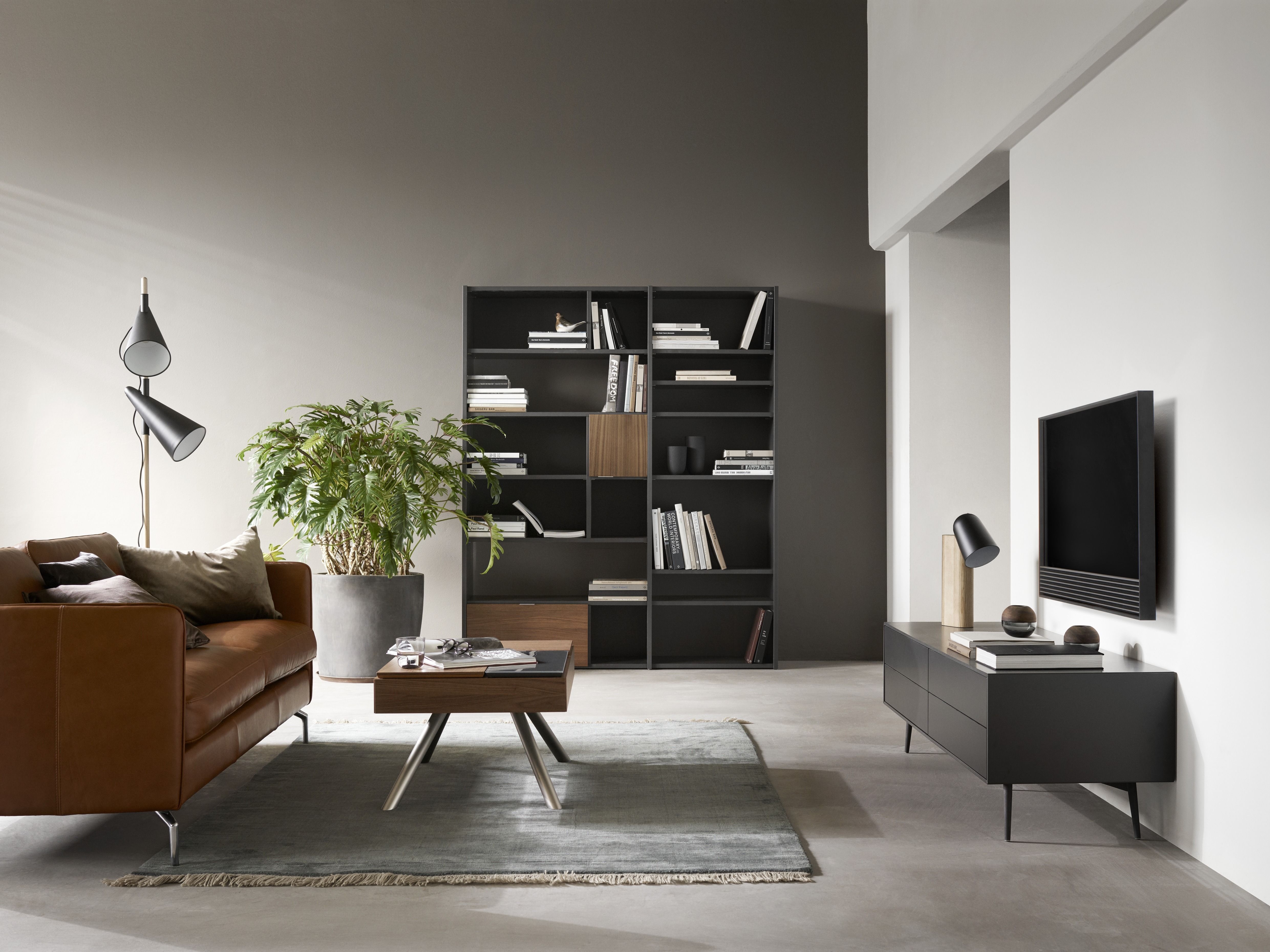 Scandi Loft Design By Boconcept Lether Sofa Black Bookcase Space  # Bo Concept Meuble Tv