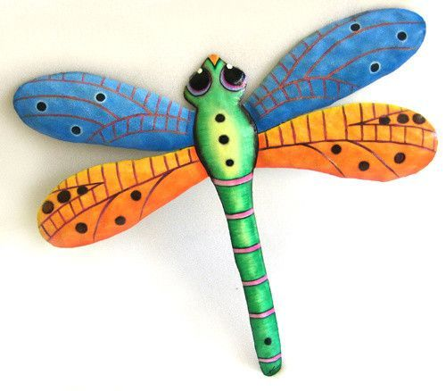 Dragonfly Painted Metal Wall Hanging Outdoor Garden Art Tropical Decor 17 1 2