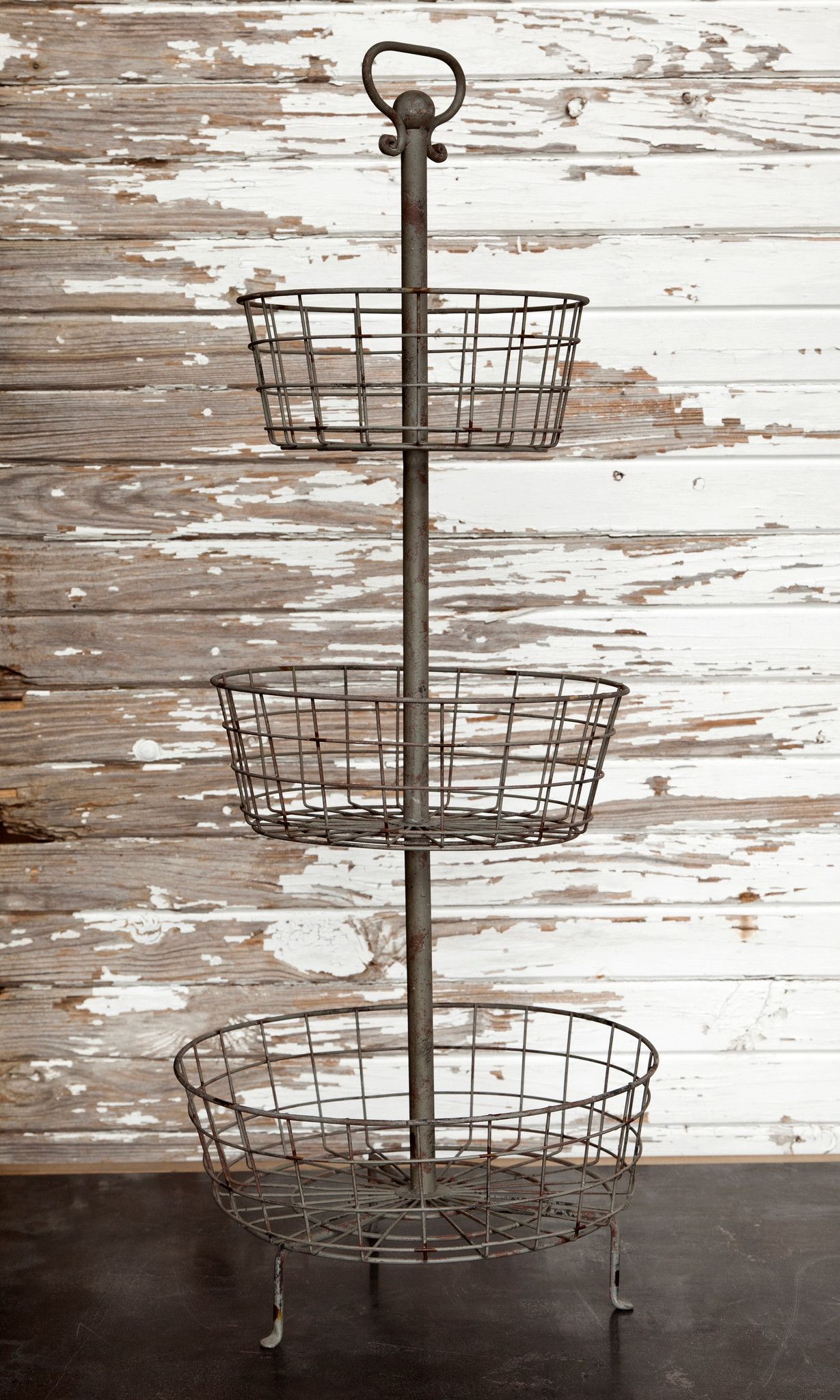 Three Tier Metal Basket Display Stand Tiered Basket Stand Farmhouse Baskets Farmhouse Style Diy
