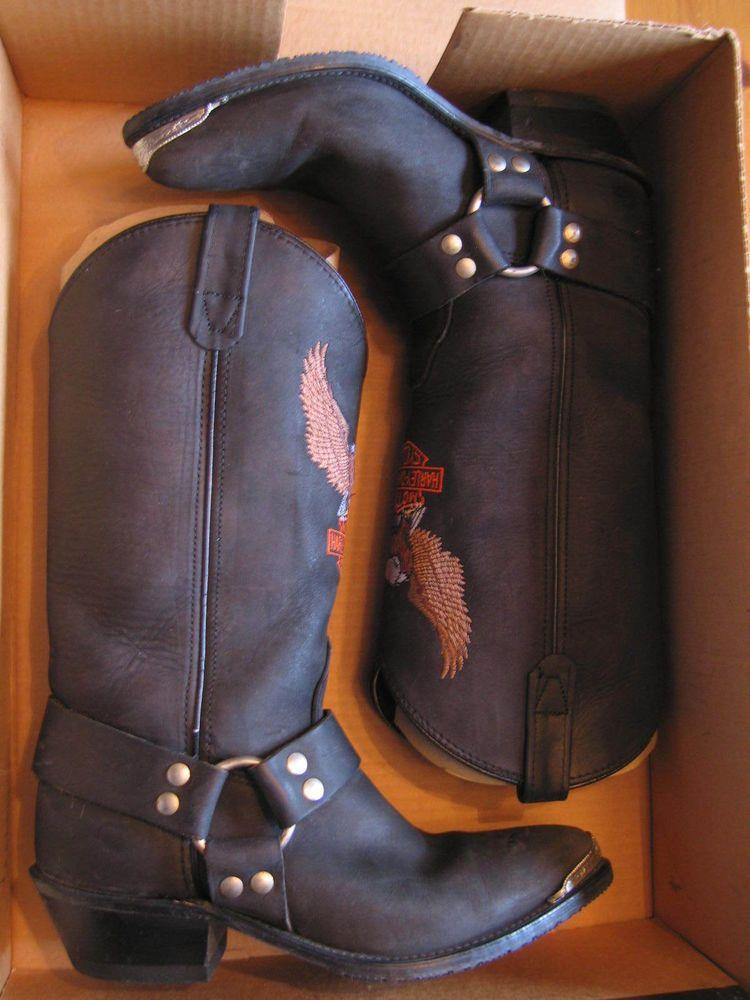 0b87206de1fe21 Vintage Black Leather Harley Davidson Cowboy Boots for Women Size 8.5M   HarleyDavidson  Boots