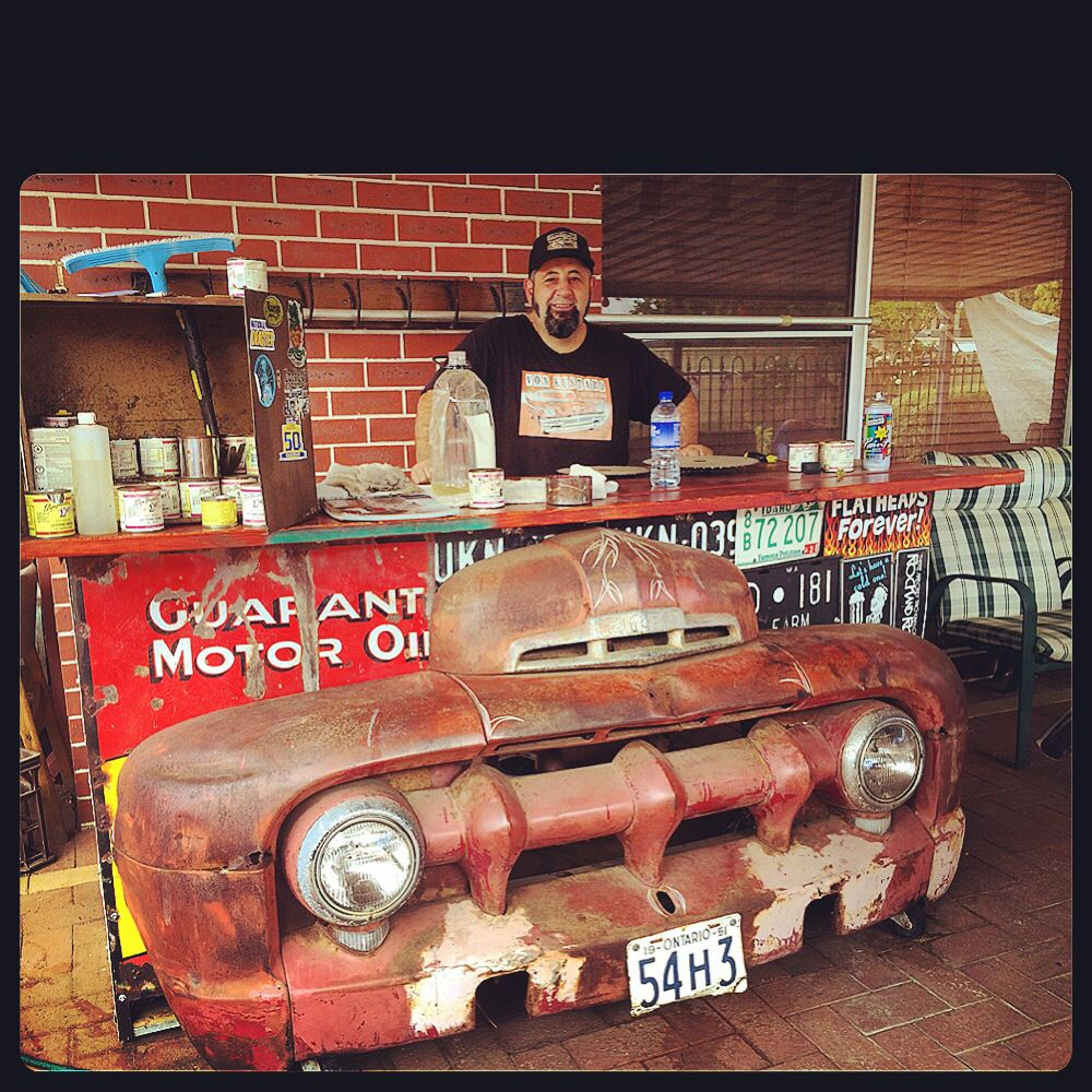 Von kustard made this 50\'s ford truck front bar. With tin signs to ...
