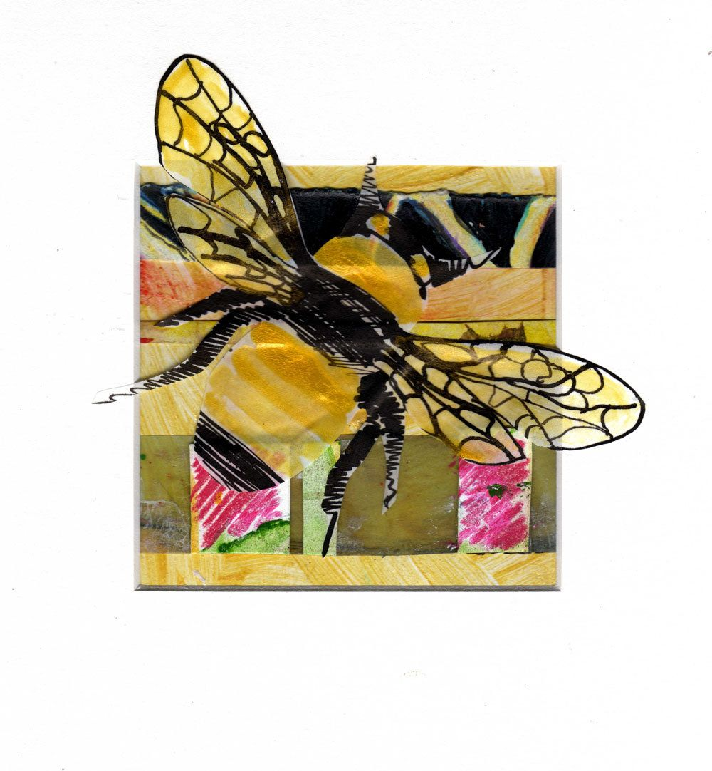 Golden Bee--Original Bee wall art, Bee home décor, Bee wall hanging ...