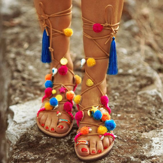 a4c46dfd11573 Summer Sales!! High Knee Gladiator Bohemian Pom Pom Sandals , Lace ...