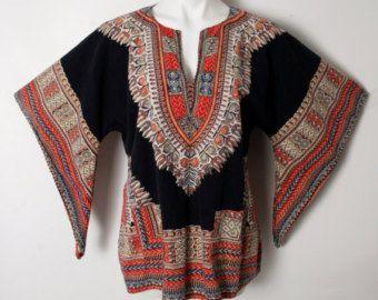 Vintage Dashiki Hippie Caftan Boho Ethnic Angel Bell Sleeves Deep V Top Shirt M