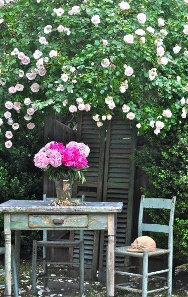 Shabby chic garden with roses | Not your ordinary Garden! | Jardins ...