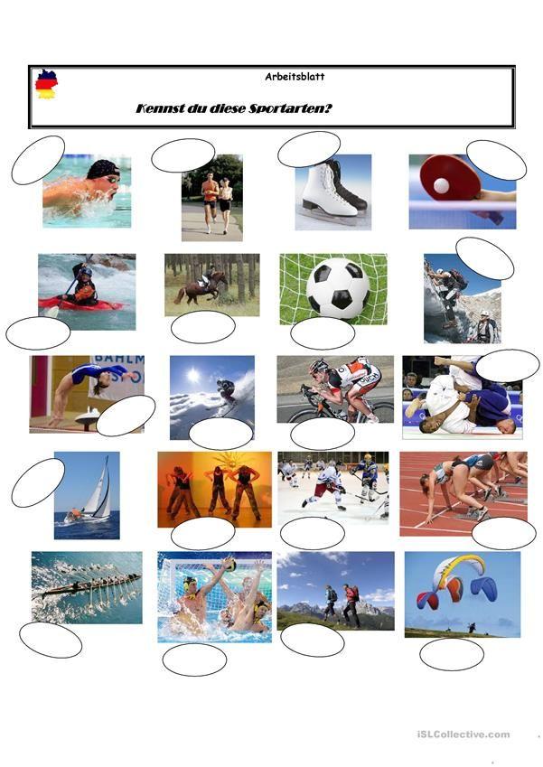 Sportarten | Deutsch für Kinder (Arbeitsblätter) | Pinterest ...