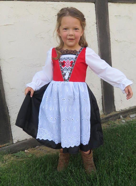 Cute Norwegian Bunad National Girls Costume Scandinavian Etsy Norwegian Dress Folk Dresses Cute Outfits For Kids