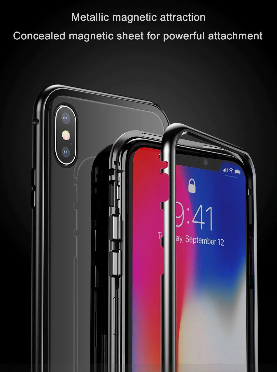 154387744 Luxury Metal Bumper Magnetic Absorption Case For iPhone X 10 Tempered Glass  Back Cover Flip Case For iPhoneX Phone Cases