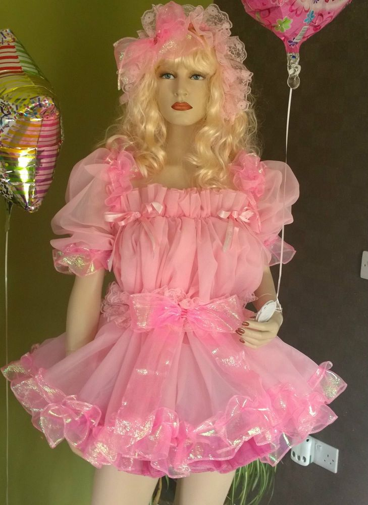 Prissy Sissy Maid Adult Baby Sheer Baby Pink Babydoll Party Dress Set