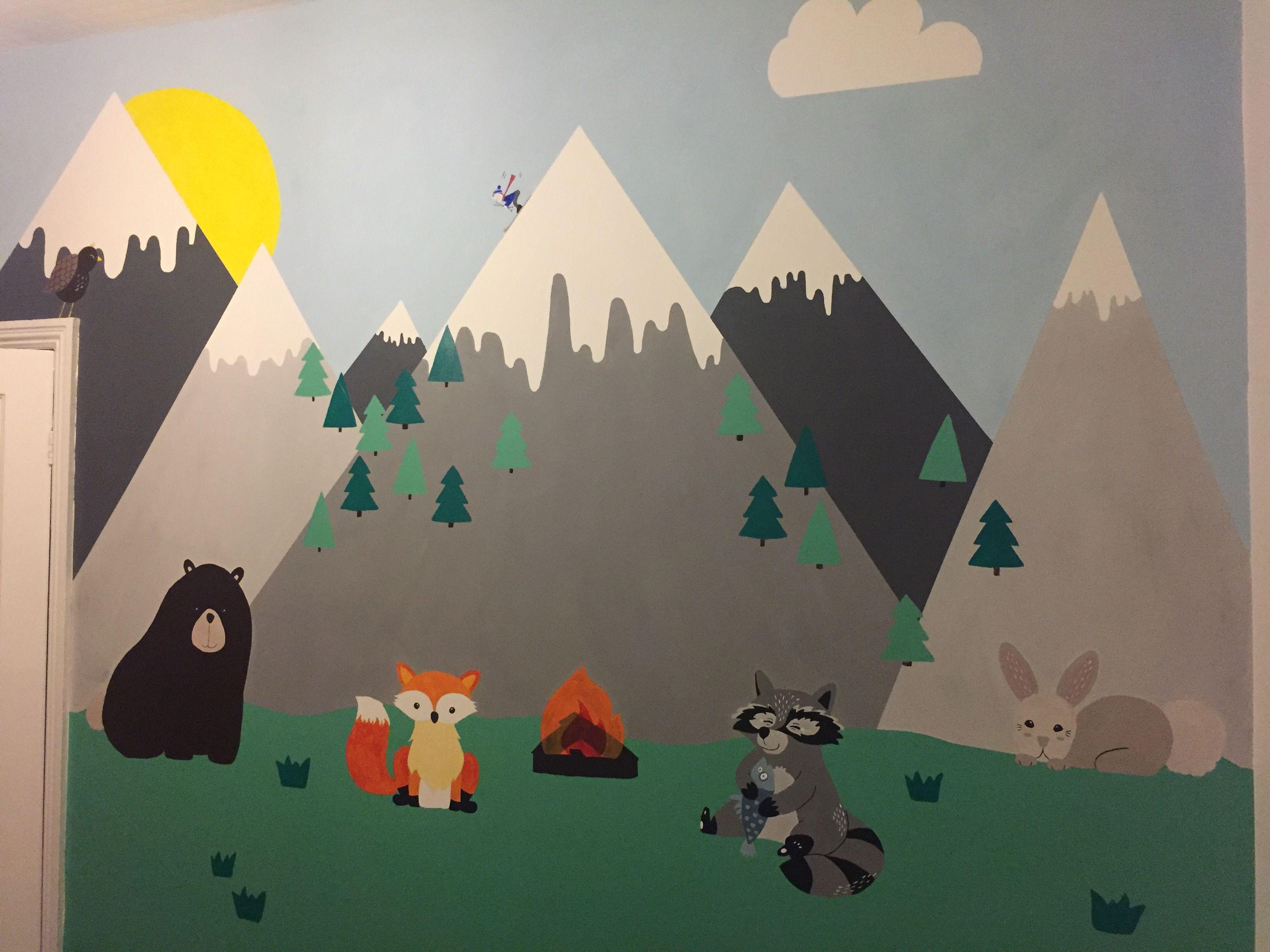 Mountain Woodland Nursery Wall Mural Hand Painted Kids Room