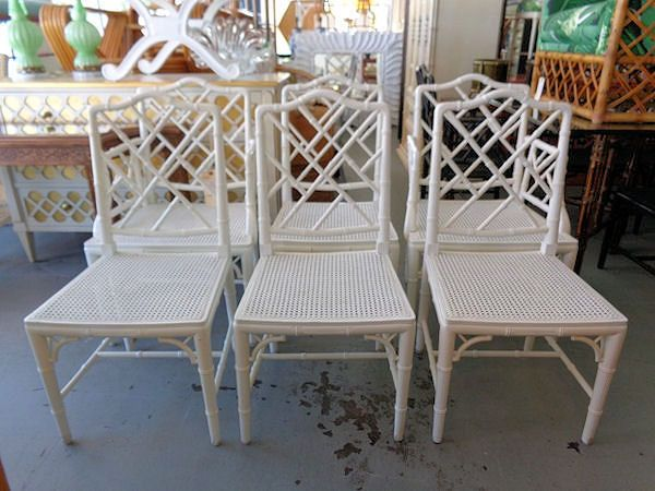 6 Faux Bamboo Chinese Chippendale Chairs For The Dining Room