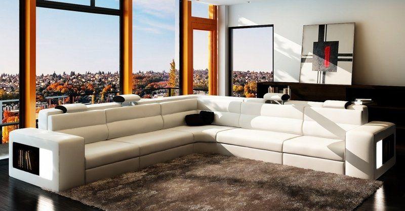 Ecksofa Sofa Couch Polster Leder Garnitur Wohnlandschaft Ecke Wohn Weiden Weiss Wohnzimmermobel Modern Ecksofas Sofa Design