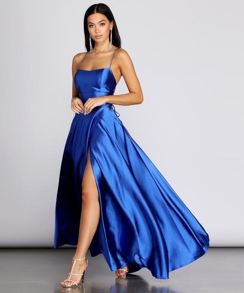 Anne Formal Lattice Satin Dress