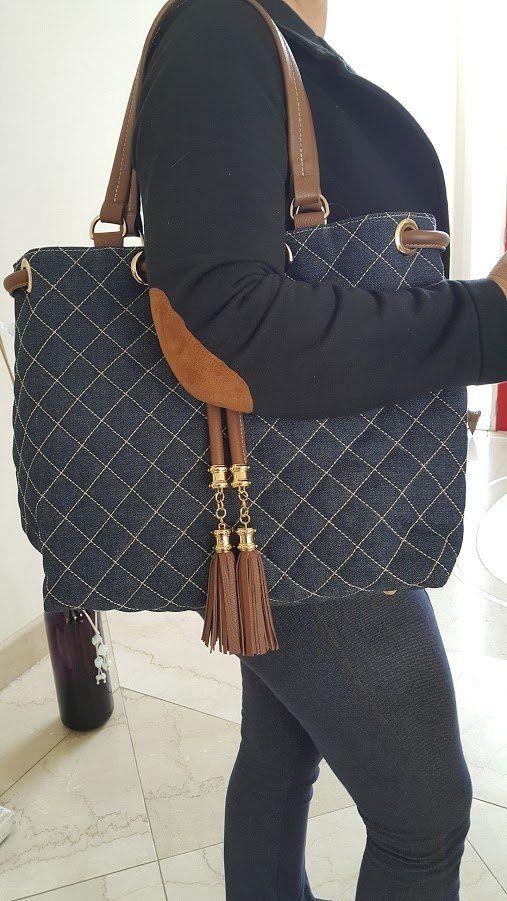 e5e502461 bolsa jeans e couro com pingente - comprar online | Bolsas Jeans ...