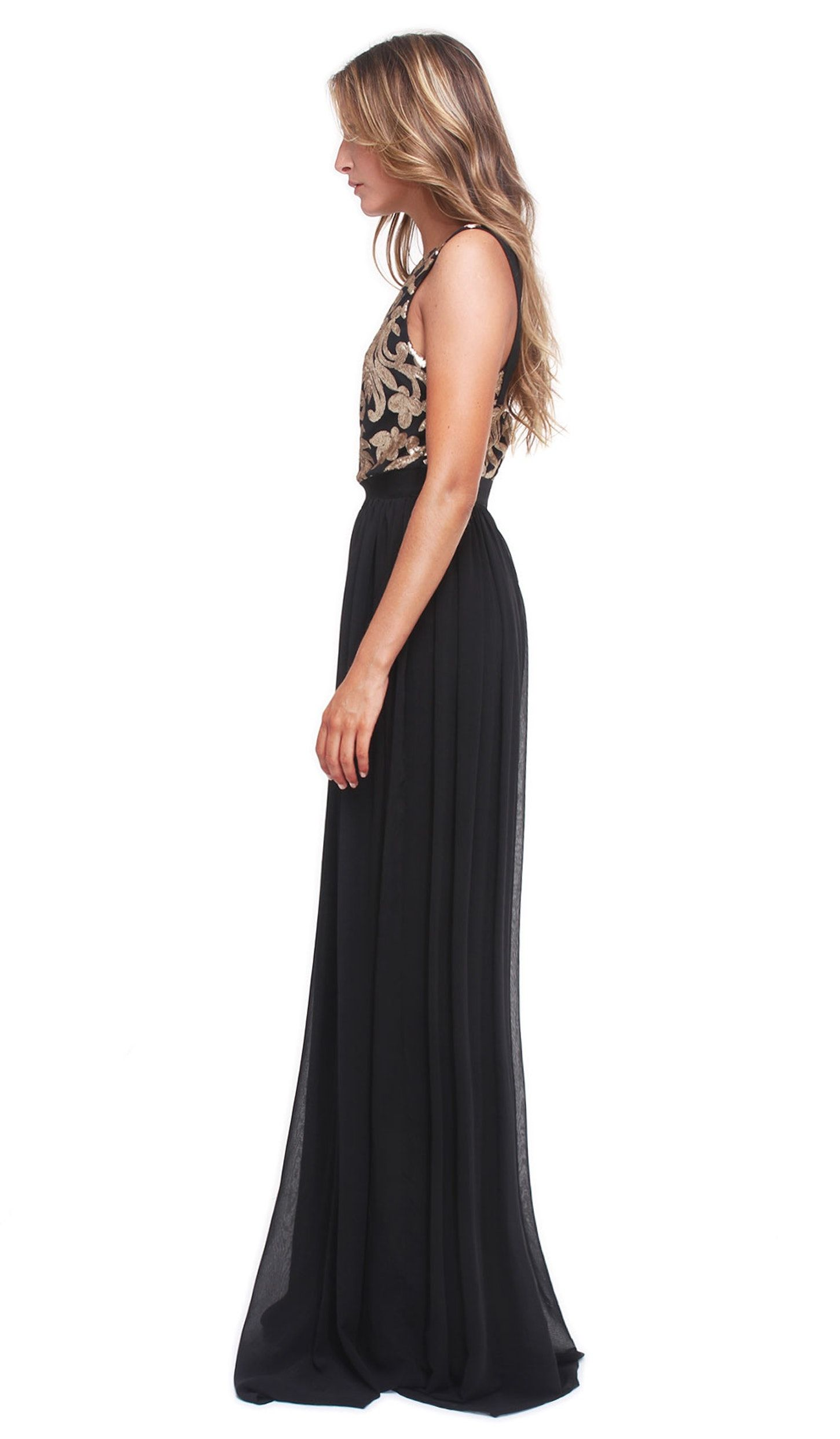 Black and gold gown hire four flavor extra long dresses