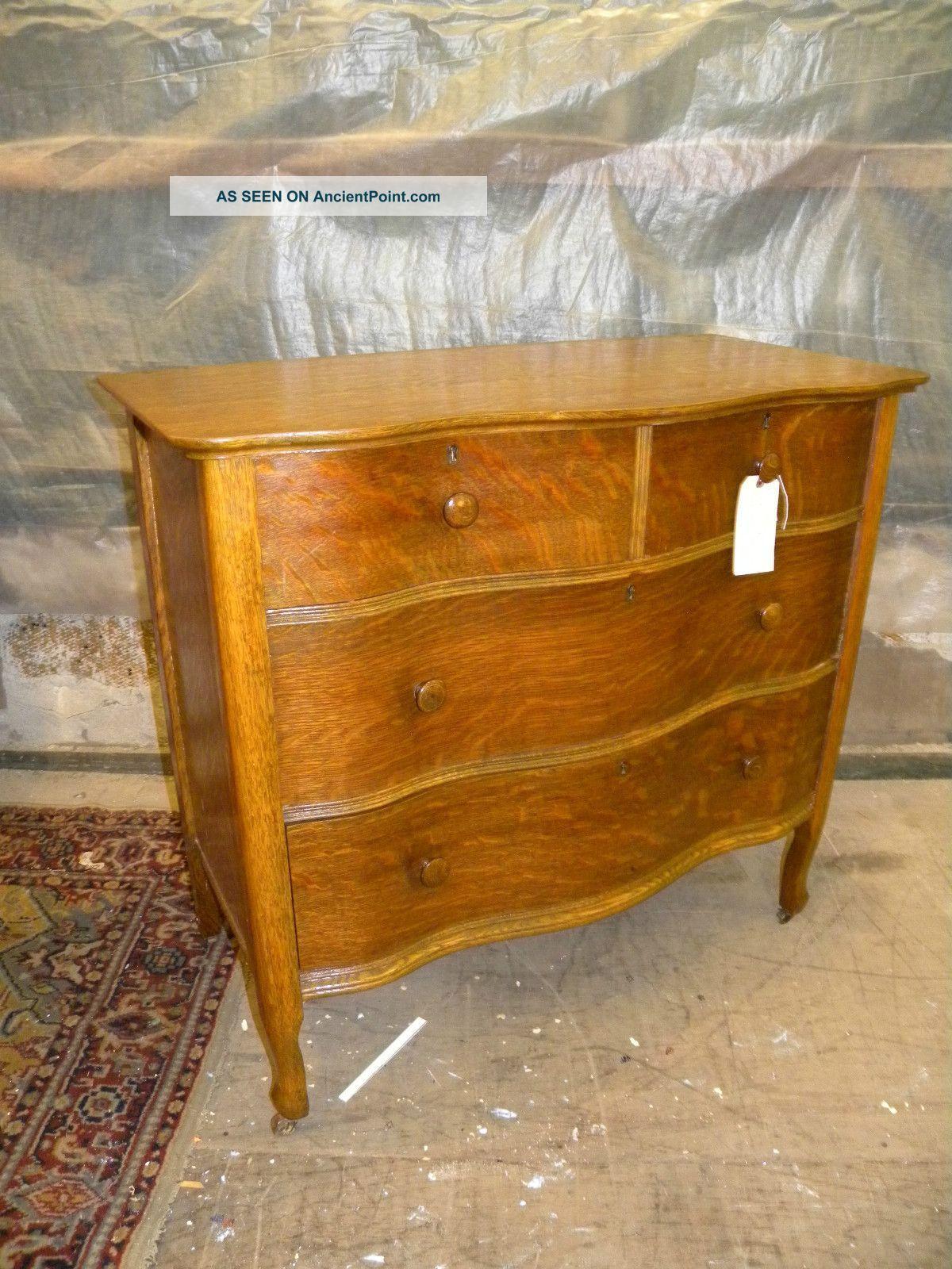 Antique Oak Serpentine Curved Front Dresser Bedroom Chest