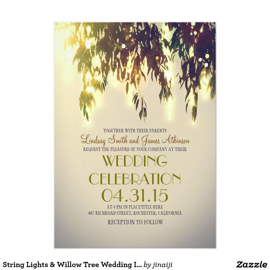 String Lights & Willow Tree Wedding Invitations | Briana wedding ...
