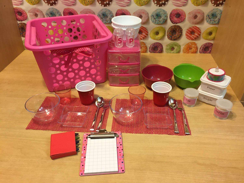 28 pcs Pink Kitchen Basket Set 18 inch doll accessories bowls