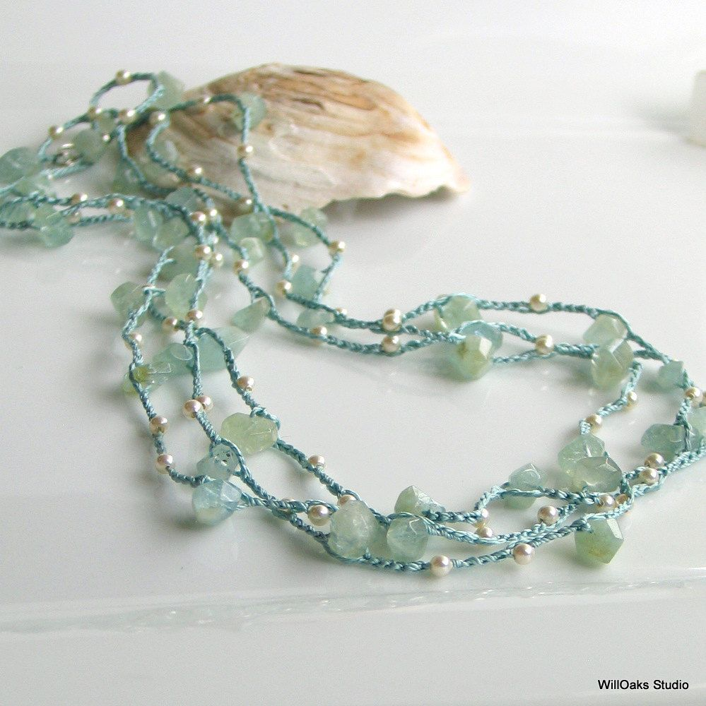 Aquamarine Jewelry Crocheted Silk Necklace or Wrap Cuff with Crystal Pearls