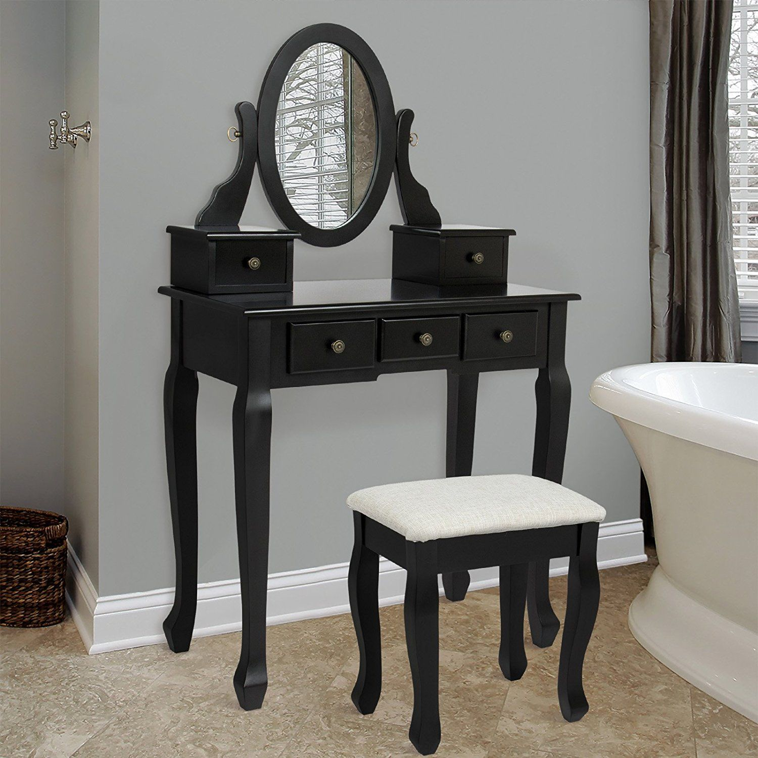 Amazonsmile bathroom vanity table jewelry makeup desk bench drawer
